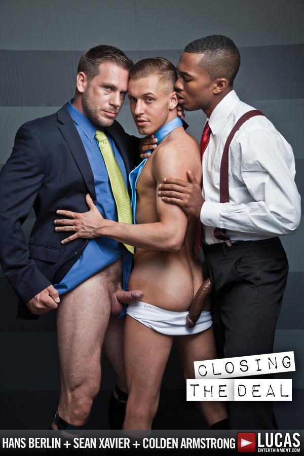 Lucas Entertainment Sean Xavier and Hans Berlin and Colden Armstrong Interracial Gay Orgy Amateur Gay Porn 02