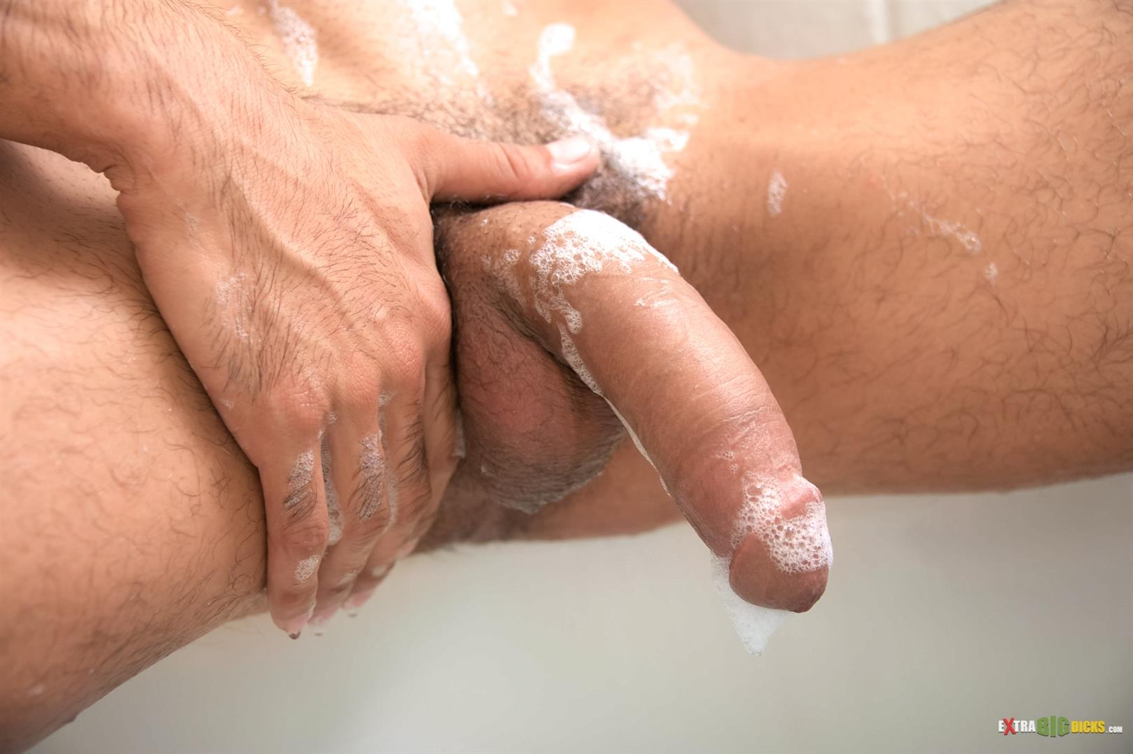 Extra Big Dicks Bobby Hart Hunk Jerking off Huge Cock in the Bathtub Amateur Gay Porn 06