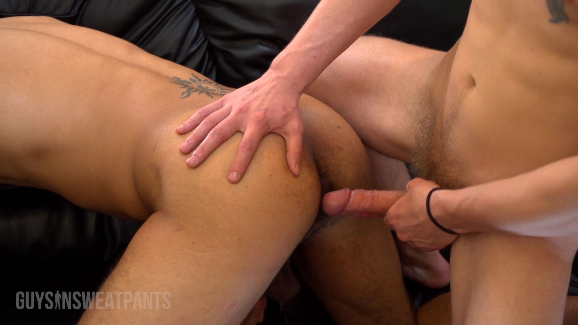 Guys In Sweatpants Ezekiel Stone and Dillon Hays Interracial bareback fucking Amateur Gay Porn 03