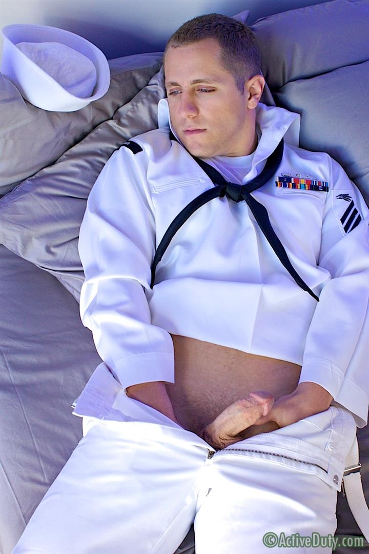 ActiveDuty Navy Seaman Copper Jerking Thick Cock In Navy Uniform Amateur Gay Porn 07