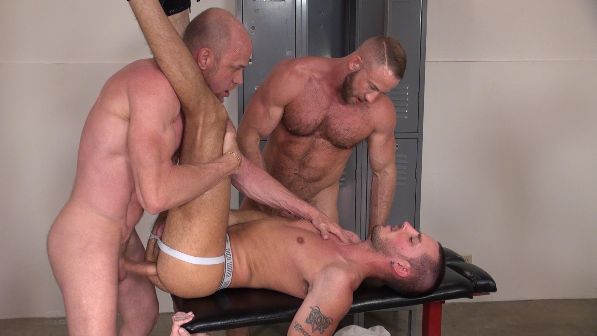Raw and Rough Gio Ryder and Shay Michaels and Parker Jock Gets barebacked by two muscle daddy Amateur Gay Porn 06