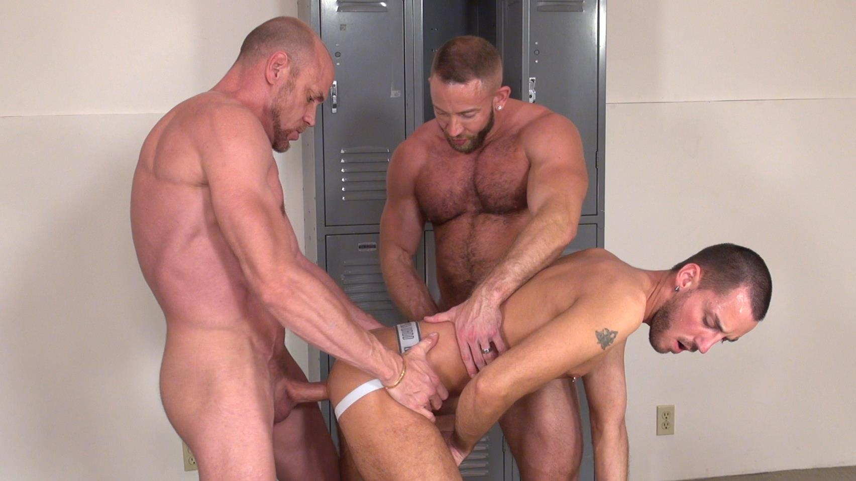 Raw and Rough Gio Ryder and Shay Michaels and Parker Jock Gets barebacked by two muscle daddy Amateur Gay Porn 10