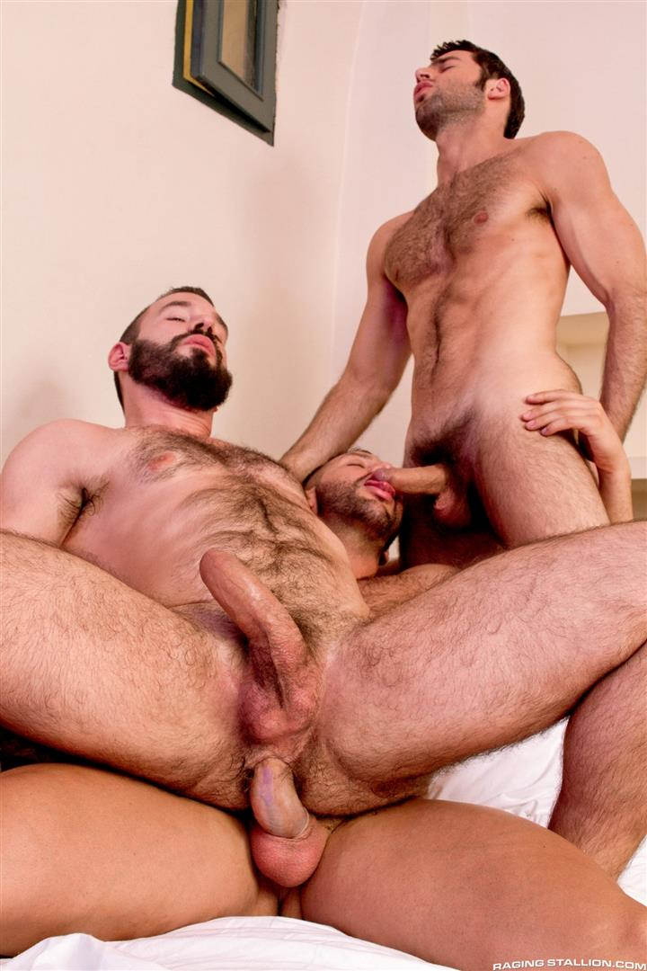 Raging Stallion Donato Reyes and Dario Beck and Alessio Veneziano Hairy Muscle Bears With Big Uncut Cocks Fucking Amateur Gay Porn 13