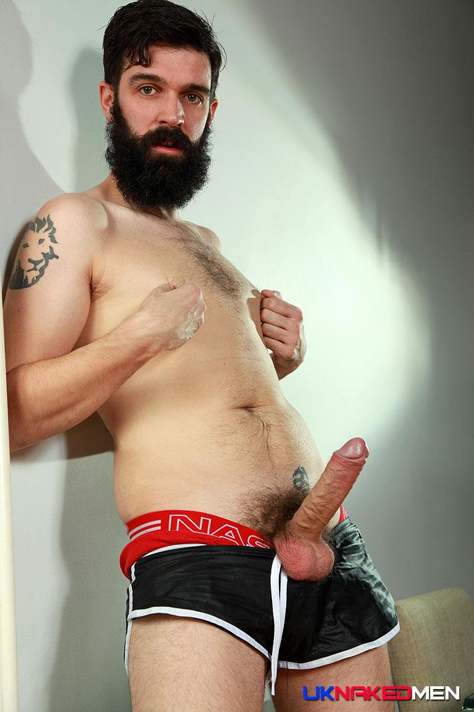 UK Naked Men Tom Long Bearded Guy With A Big Uncut Cock Jerk Off Amateur Gay Porn 08
