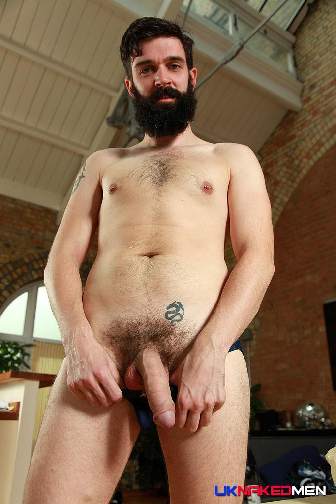 UK Naked Men Tom Long Bearded Guy With A Big Uncut Cock Jerk Off Amateur Gay Porn 12