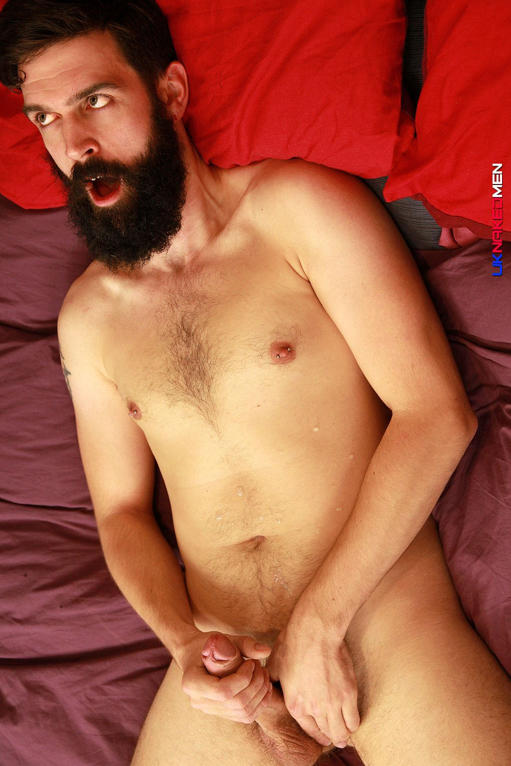 UK Naked Men Tom Long Bearded Guy With A Big Uncut Cock Jerk Off Amateur Gay Porn 13