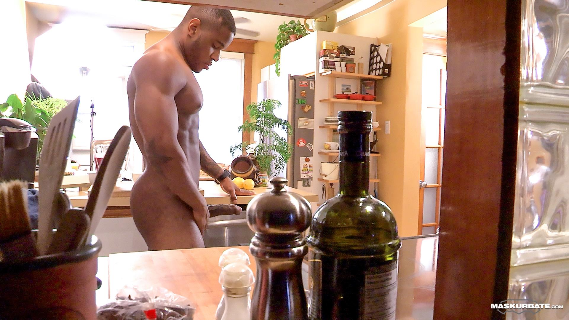 Maskurbate Adam Black Muscle Guy Jerking His Big Black Uncut Cock Amateur Gay Porn 10