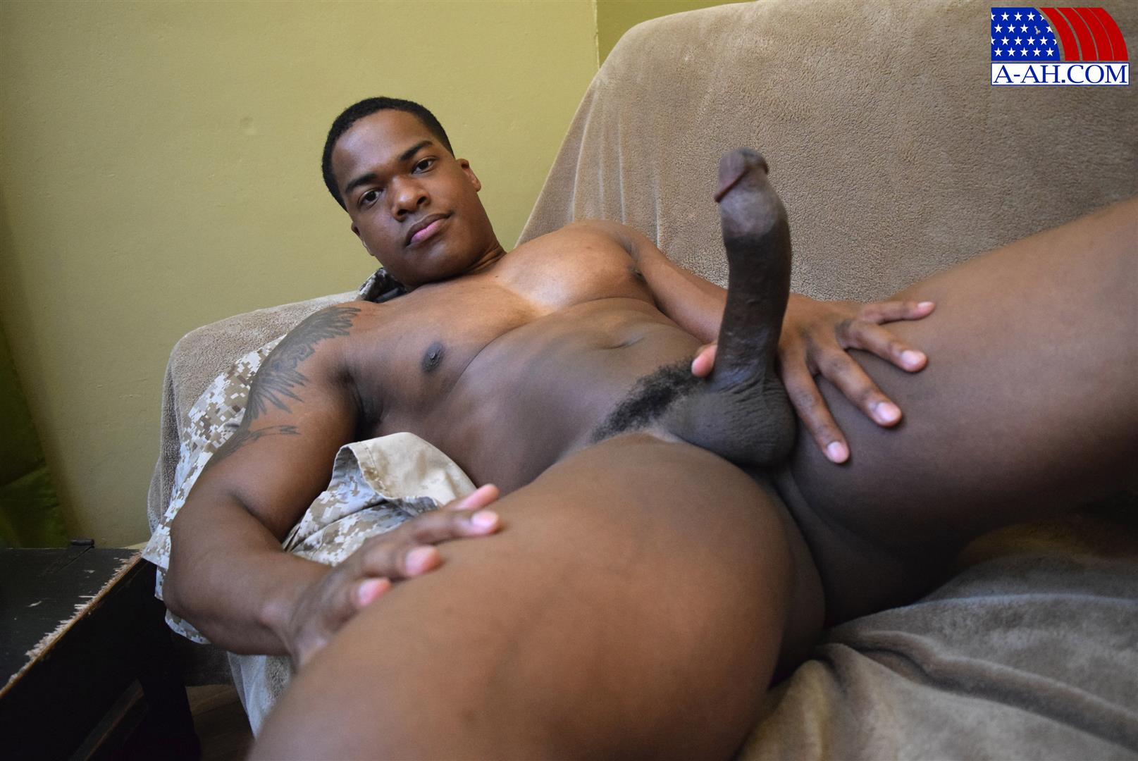 Massive black cock jerking off