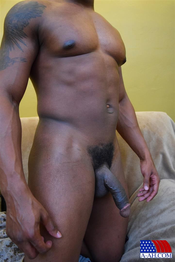 All American Heroes Sean Muscle Navy Petty Officer Jerking Big Black Cock Amateur Gay Porn 14