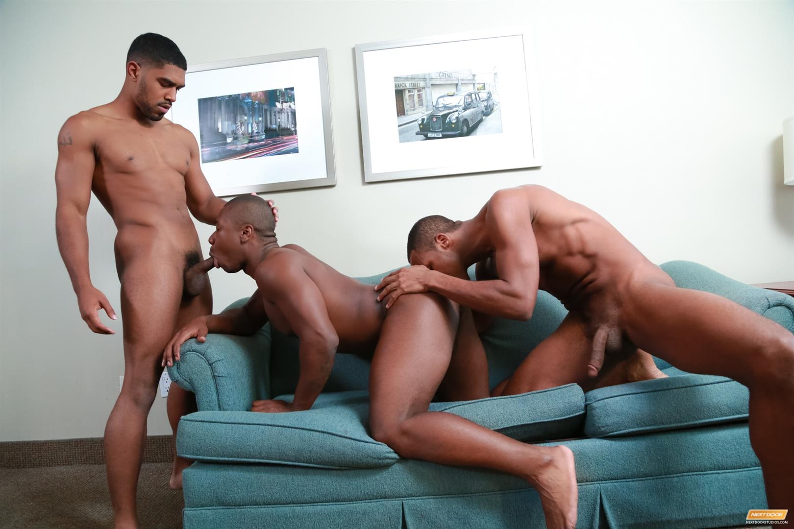 Next Door Ebony Damian Brooks and XL and Andre Donovan Black Naked Men Fucking Amateur Gay Porn 15