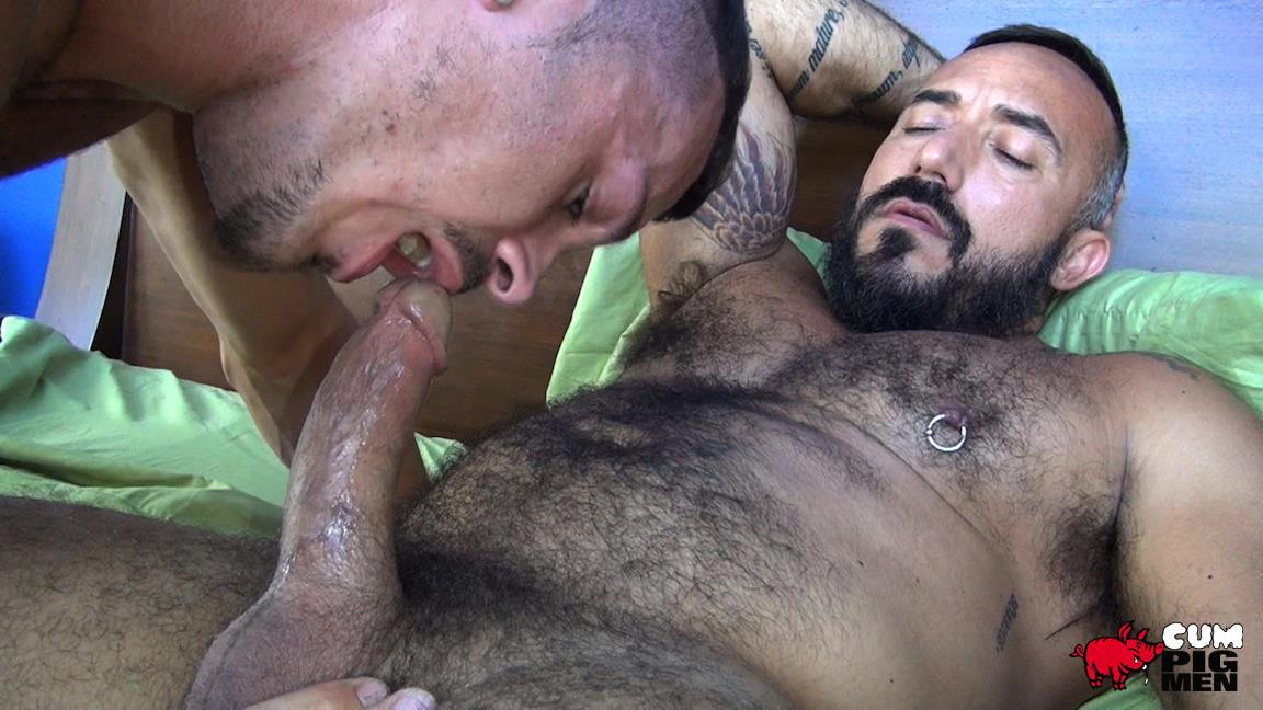 Cum Pig Men Jimmie Slater and Alessio Romero Hairy Muscle Daddy Getting Blow Job Amateur Gay Porn 15