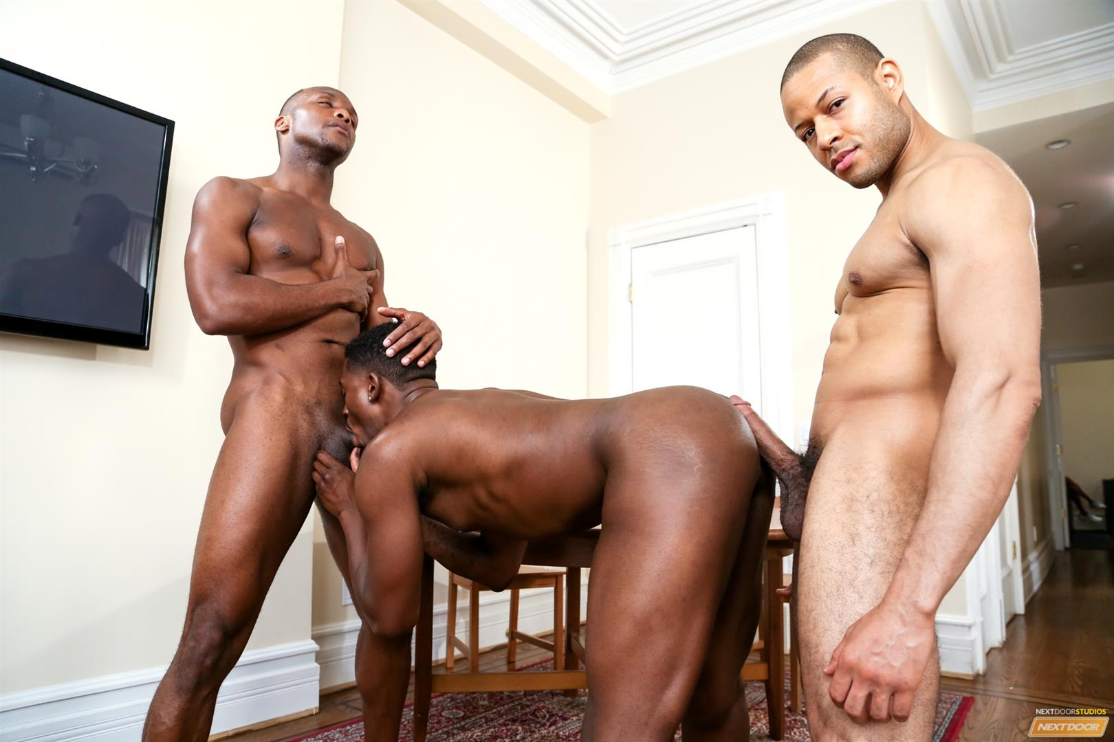 Next Door Ebony Krave Moore and Andre Donovan and Rex Cobra Big Black Cock Amateur Gay Porn 12