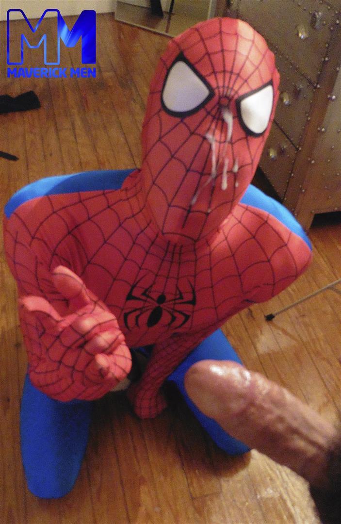 Maverick Men Spiderman With A Big Black Dick Bareback Threesome Amateur Gay Porn 13