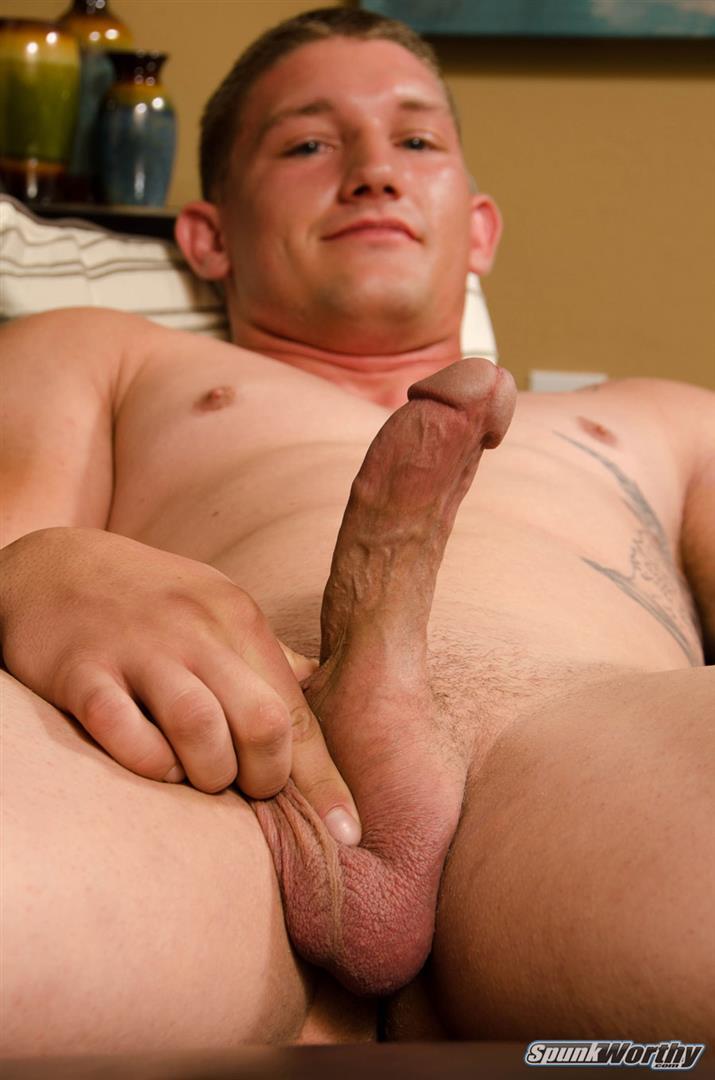 SpunkWorthy Avery Straight Army Soldier Jerking Off Big Cock Amateur Gay Porn 15