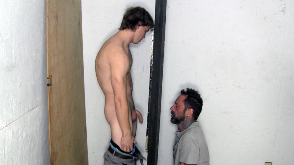 Straight Fraternity Donny Forza Straight Guy Getting Sucked Through Gloryhole Amateur Gay Porn 03